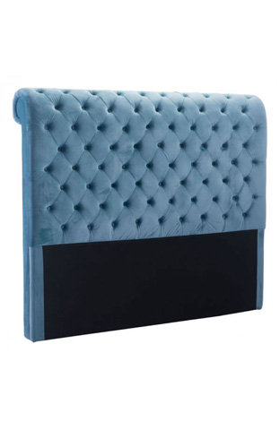 Image of Sergio Queen Headboard in Blue Velvet