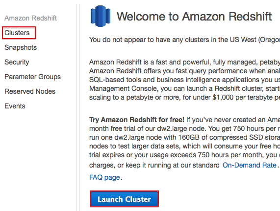 Launch Redshift Cluster