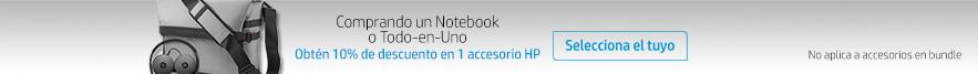 Comprando una notebook todo en uno, obtén un 10% de descuento en 1 accesorio HP.