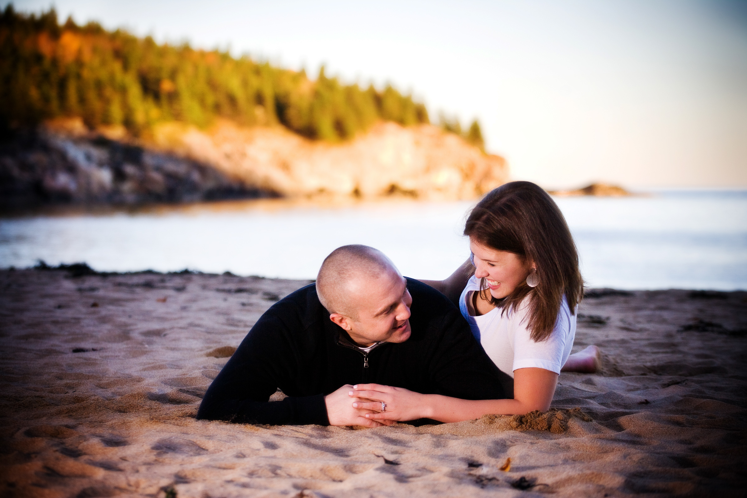 Engagement pictures in Acadia National Park at Bar Harbor