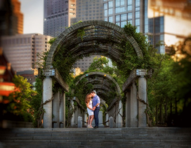 Christopher Columbus Park - Boston engagement pictures in North End