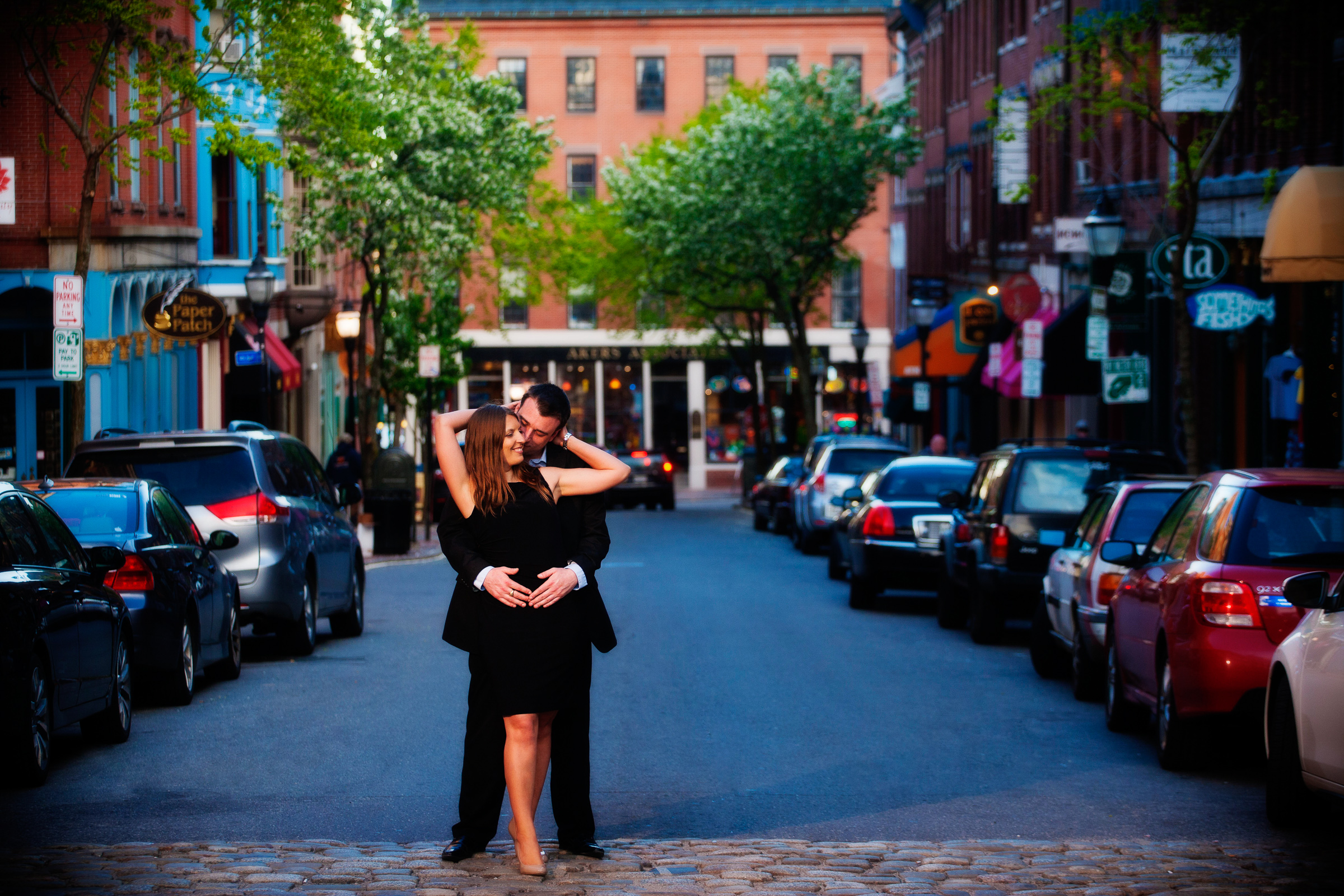 Engagement pictures in downtown Portland, Maine