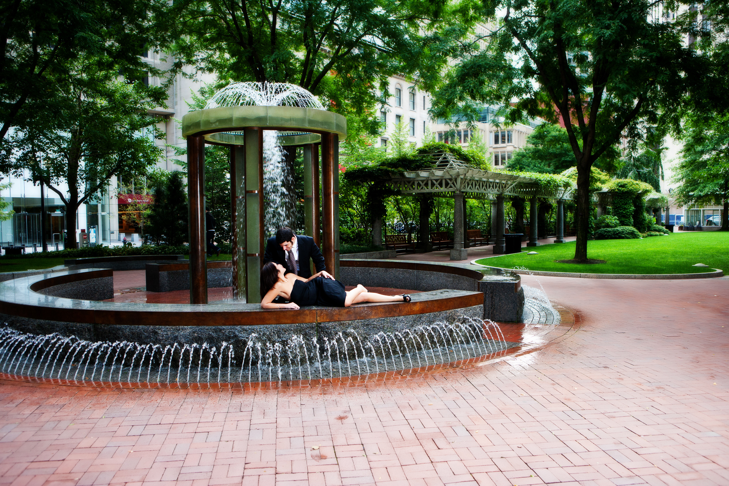 Engagement picture in post office square in boston, ma