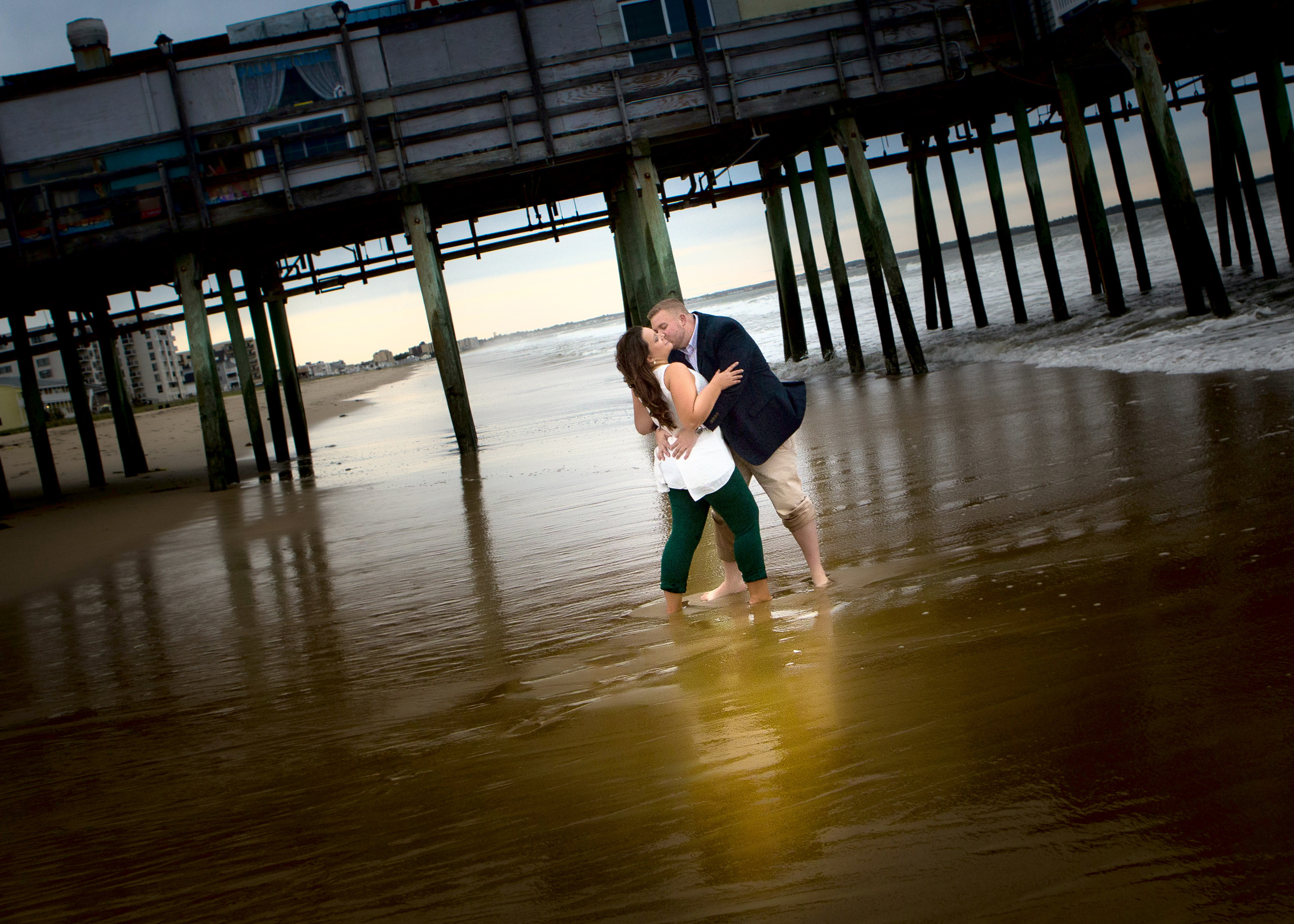 Engagement Pictures at Old Orchard Beach in Maine