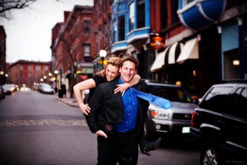 engagement couple on exchange street in portland, maine