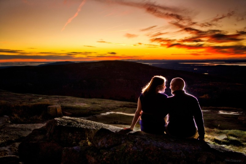 cadillac mountain sunset for engagement photo shoot