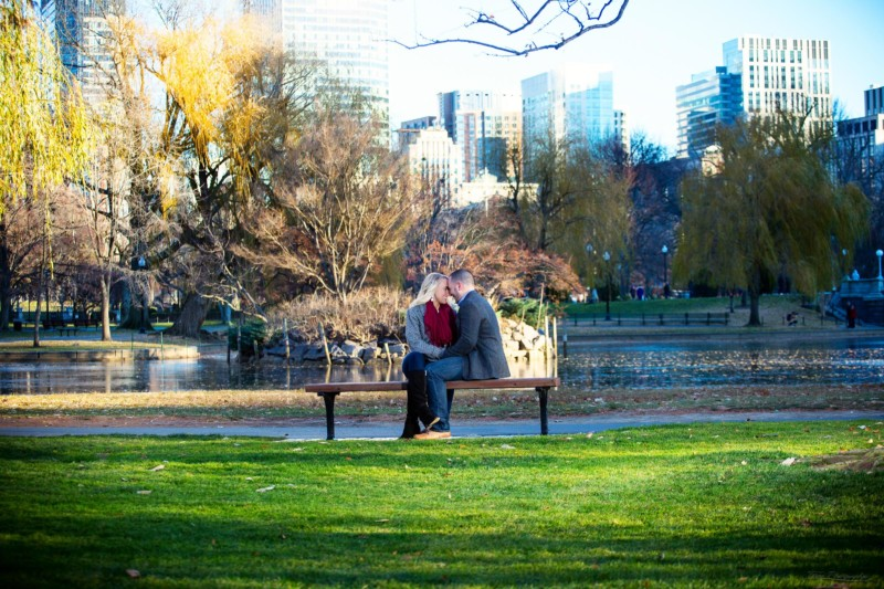 engagement pictures in public garden in boston during winter
