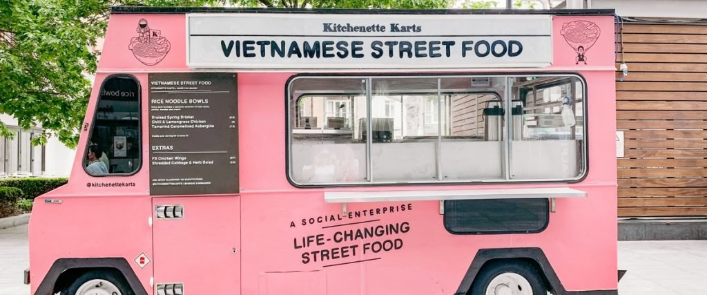 pink vietnamese street food truck