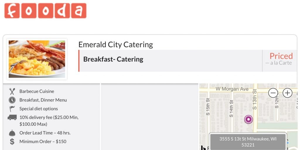 fooda caterig menu for emerald city catering