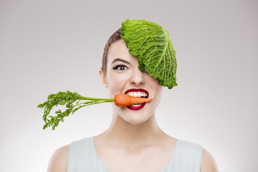 woman carrot lettuce