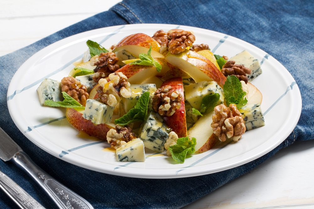 walnut bleu cheese apple