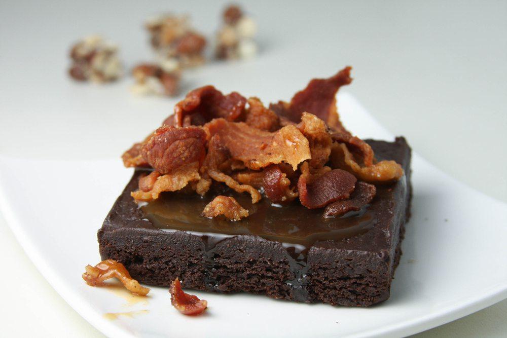 salted caramel bacon brownie