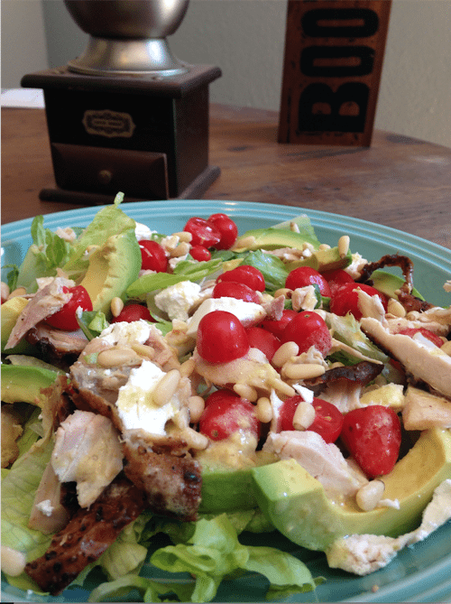 chicken avocado salad goat cheese