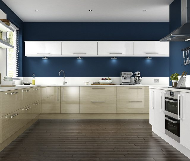 modern prussian blue kitchen