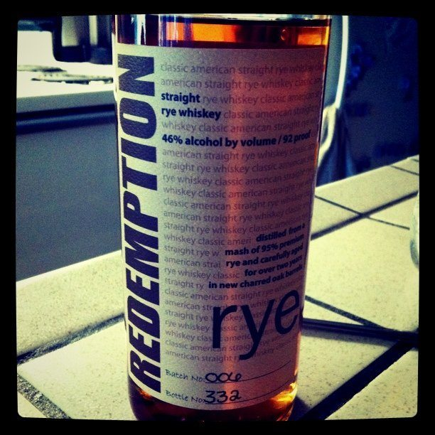 Redemption Rye: Bottled as-is from the MGP factory. Looks fancy though!