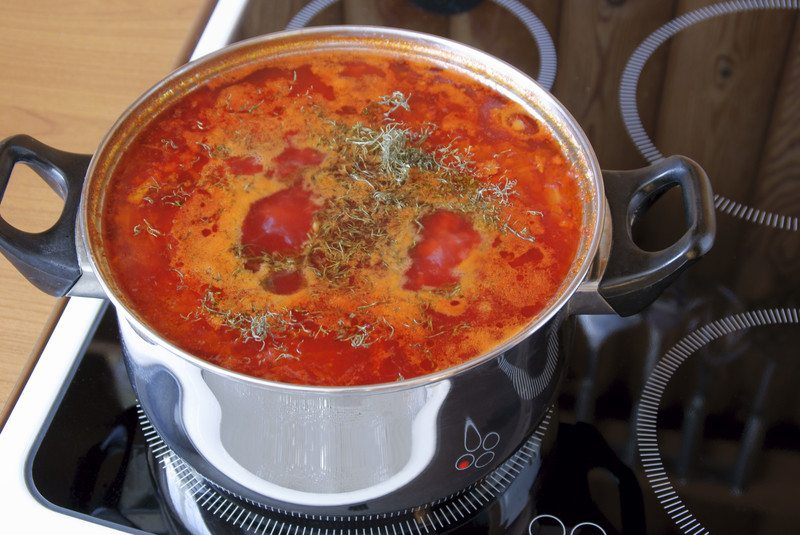 tomato herb soup stainless steel electric cooktop