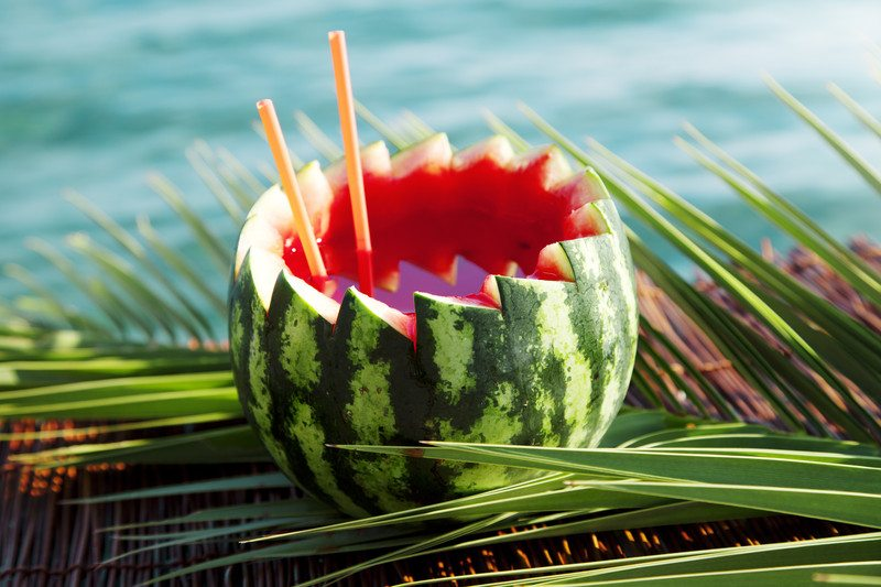 Cocktail served in a watermelon, stock image