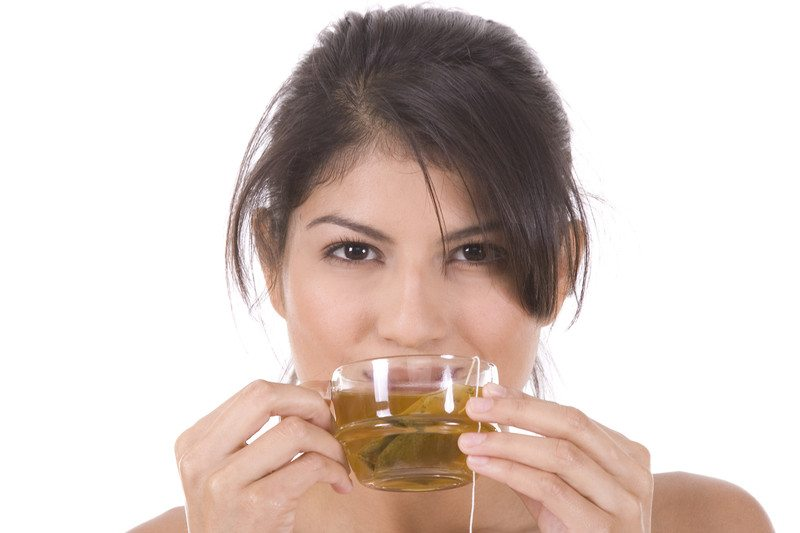 Woman drinking a herbal tea