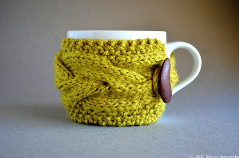 Cable Knitted Coffee Mug Sleeve