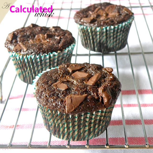 Double Chocolate Zucchini Muffins from A Calculated Whisk