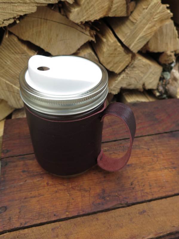 Leather Mason Jar Sleeve with Handle