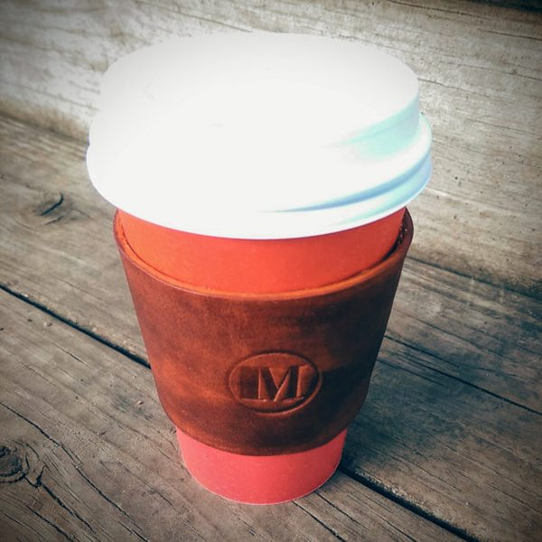 Monogrammed Leather Coffee Sleeve