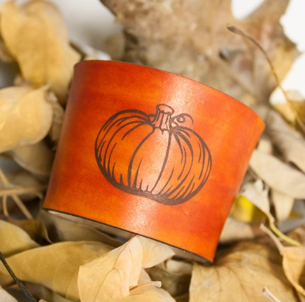 Pumpkin Leather Coffee Cozy