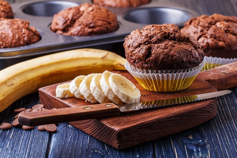 Vegan Almond Butter Chocolate Banana Protein Muffins