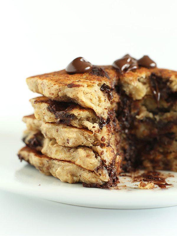 Vegan Chocolate Chip Oatmeal Cookie Pancakes