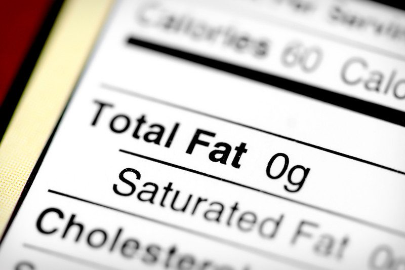 Label for fat free food