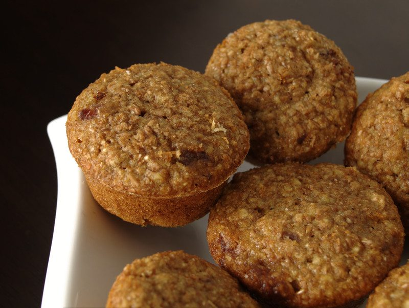 Bran muffins on a plate