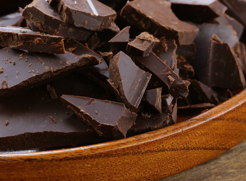 Dark chocolate in a bowl