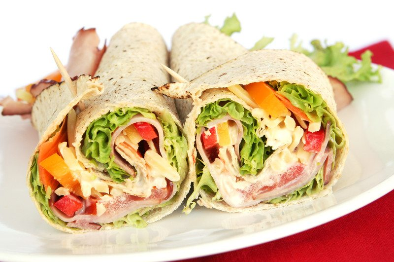 Unhealthy salad wrap