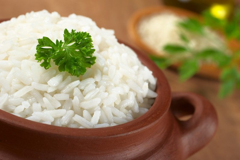 White rice in a brown container