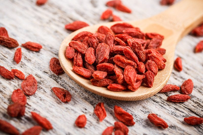 Goji berries on a spoon