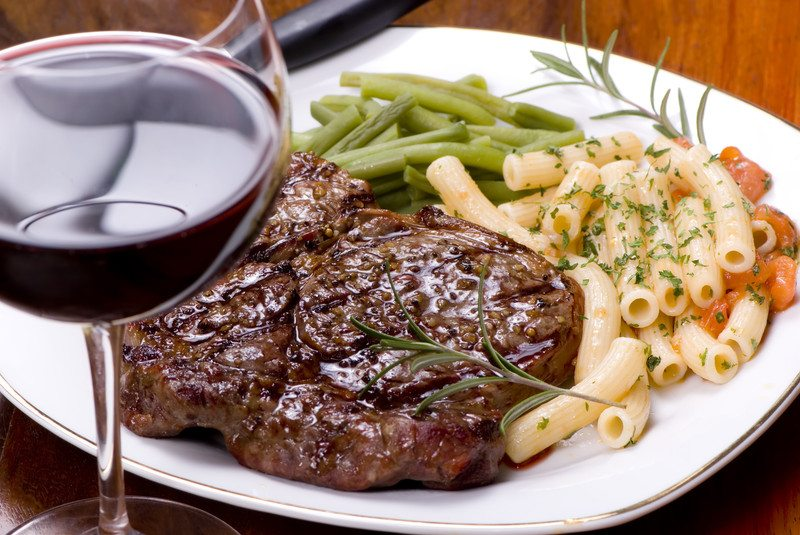 Wine with steak and pasta