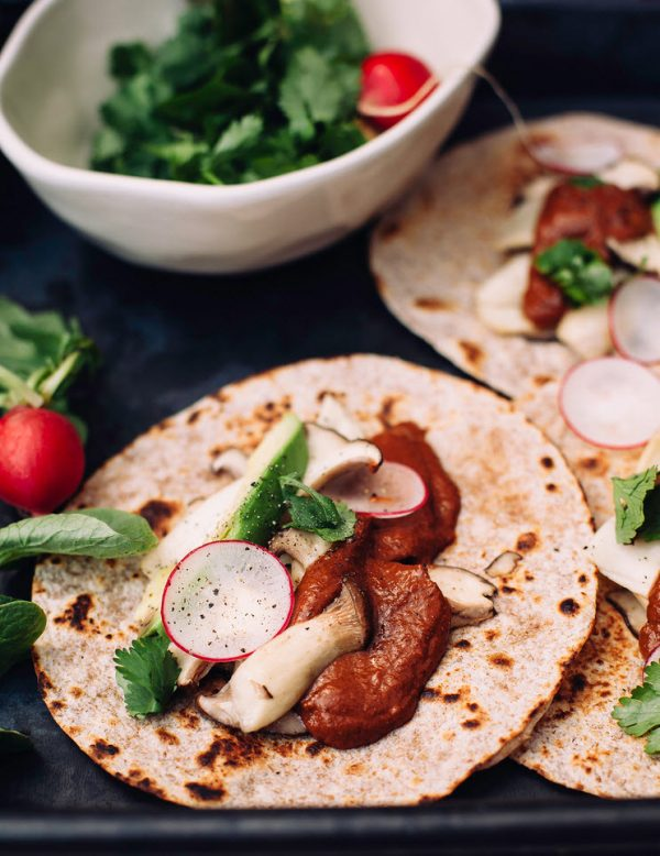 Oyster Mushroom Tacos with Cacao Sauce