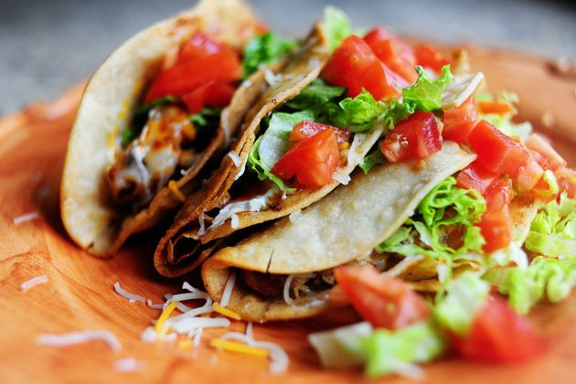 Side View Chicken Tacos