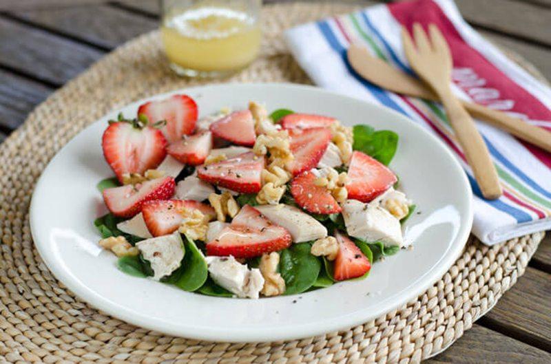 Chicken Salad with Spinach & Strawberries