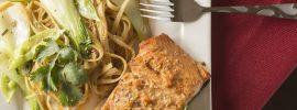 Crispy Asian Salmon Noodle Stir Fry