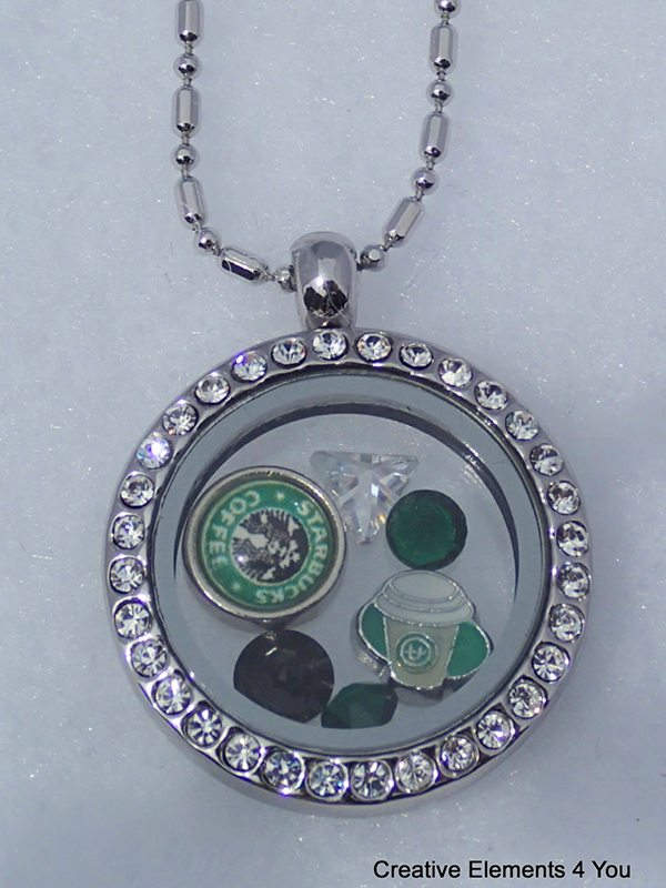 Crystal Glass Locket With Starbucks Inspired Charms