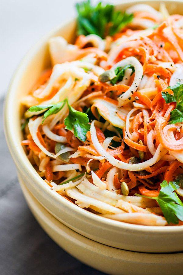 Easy Carrot Celeriac Spiralized Salad