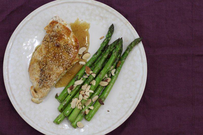 honey sesame chicken breast asparagus