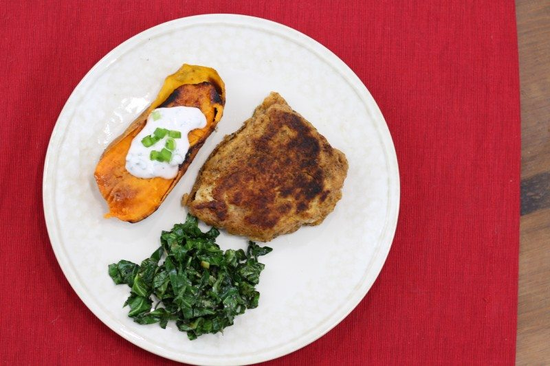 Chicken Fried Chicken with Baked Sweet Potato & Collard Greens Final