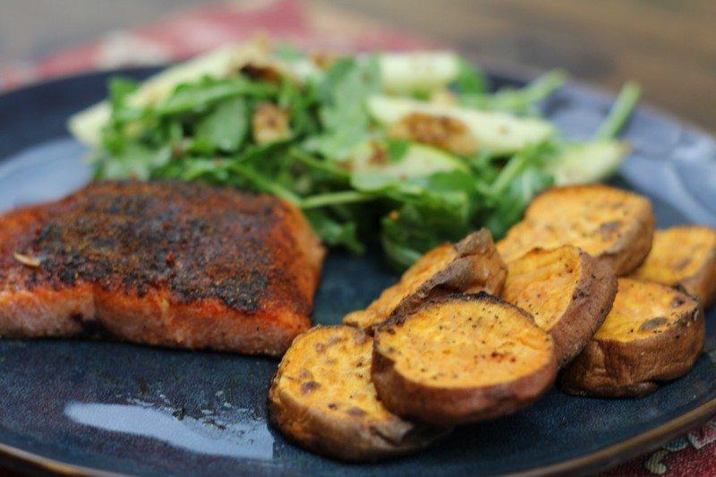 bbq spiced salmon sweet potato rounds with Arugula, Apple, & Walnut Salad