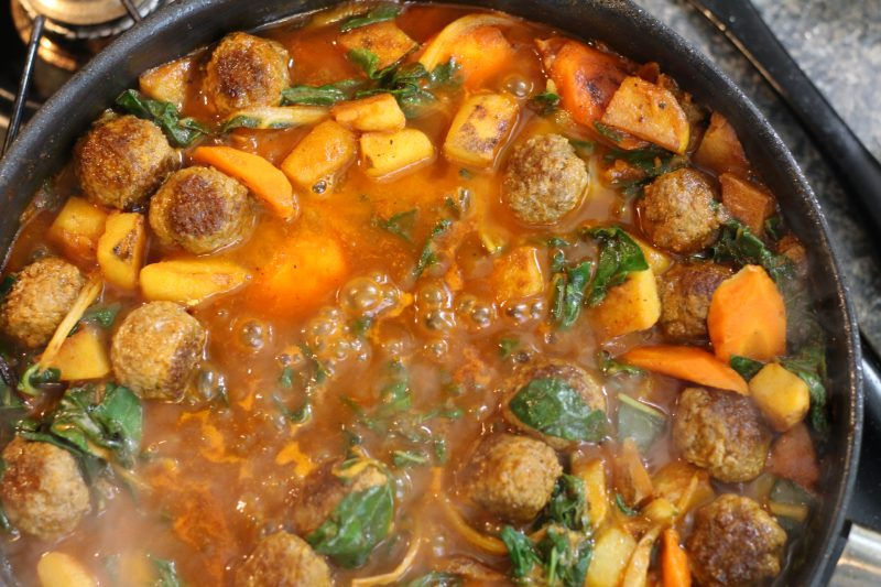 boiling veggies and meatballs 2