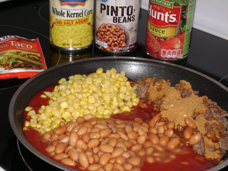 Adding in Beans, Corn and Spices
