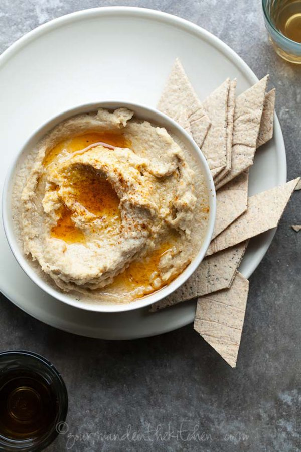 Parsnip Hummus with Garlic Chili Oil