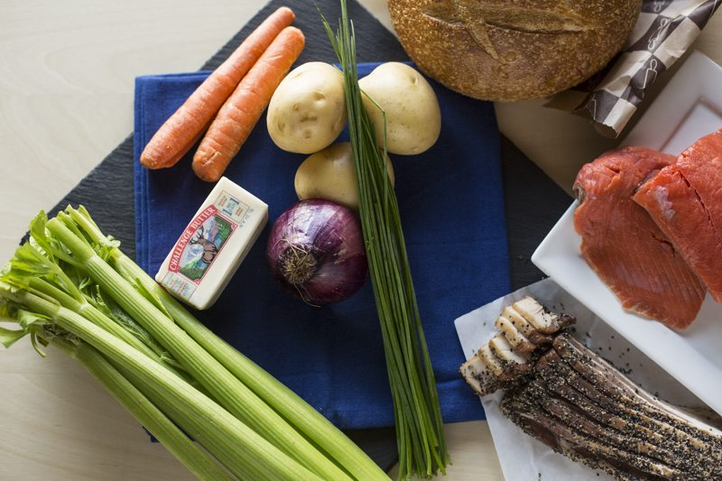 Quick & Hearty Salmon Chowder Ingredients TOp Down Bacon