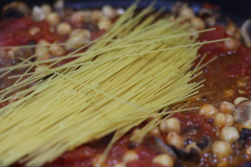 Shrimp and Chickpea Pasta add pasta